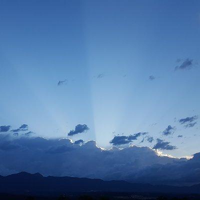 Sun Rays over Pikes Peak on June 14, 2016