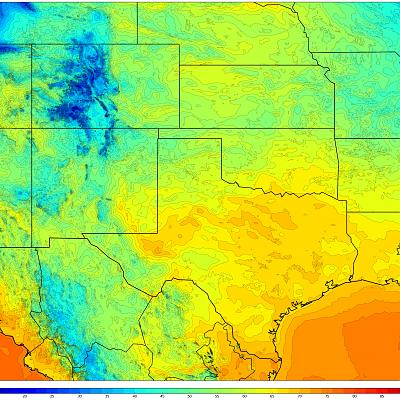 1km WRF Temps - Daytime Low